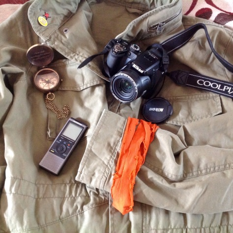 Stuff we forgot in the first two photos: Compass, recorder, borrowed camera, jacket, jack'o'lantern t-shirt.