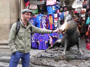 Jason touches the boar's snout in Florence ensuring that some spiritual force will bring him back.