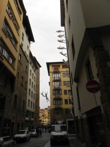 Art installation in the streets of Florence depicting various historical and politcal figures.