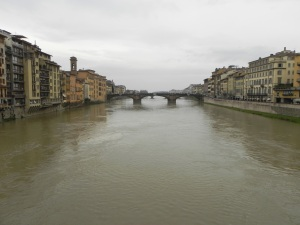 The Arno River that runs through Florence.
