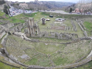 The ruins of a Roman theater in Volterra.