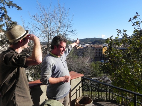 "Our first day in Igualada. Manel shows us the view from the second story of his home. ""It's incredible, no?"""