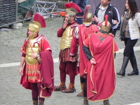 A group of Romans take a smoke break